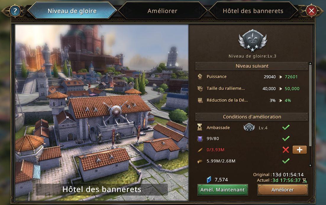Evolution Hôtel des Bannerets vers le niveau de gloire 4