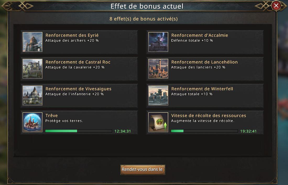 Effet bonus actuel