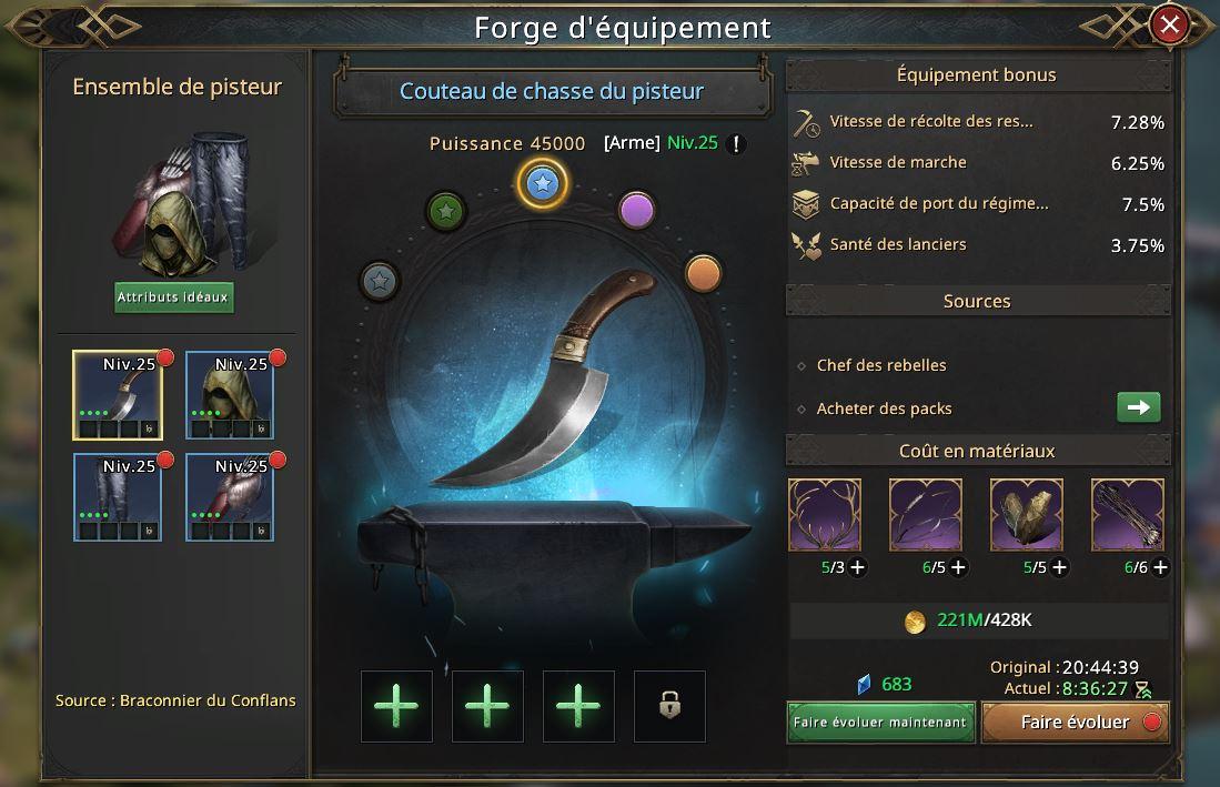 Evoluton du couteau de chasse de pisteur