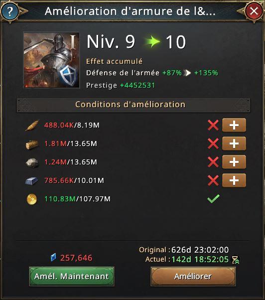 Recherche amélioration d'armure vers le niveau 10