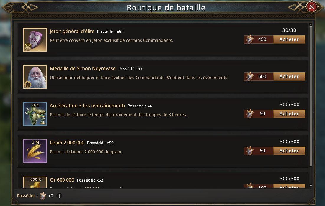 Boutique de l'événement Siège de Winterfell