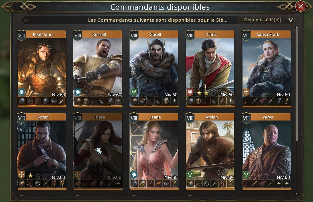 Commandants disponibles