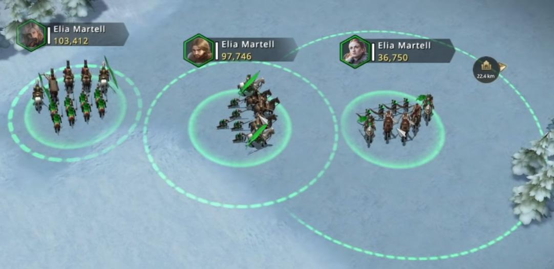 Rayons d'attaque des différents types de troupes
