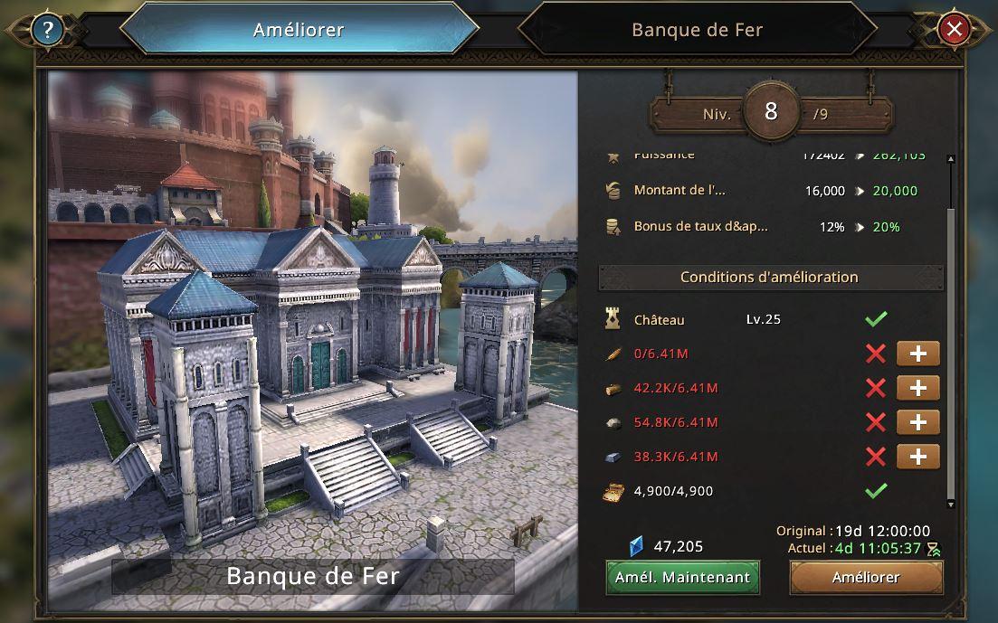 Evolution de la Banque de Fer vers le niveau 9