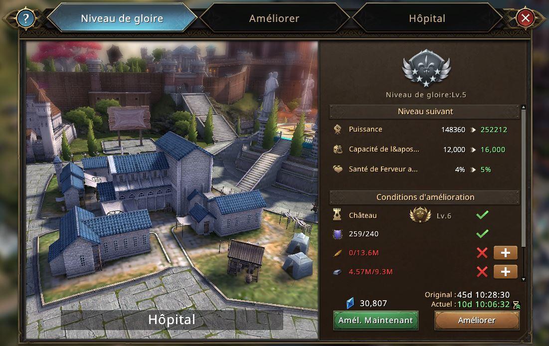 Evolution de l'hôpital vers le niveau de gloire 6