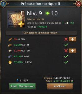 Préparation tactique II vers le niveau 10