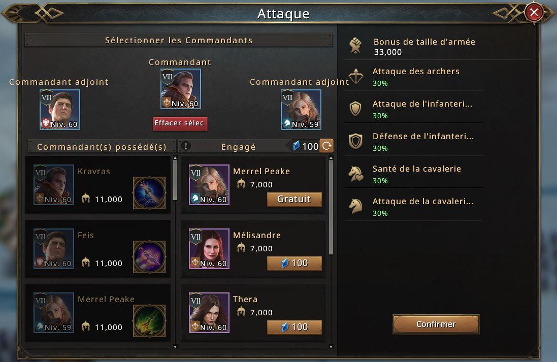Sélection des commandants