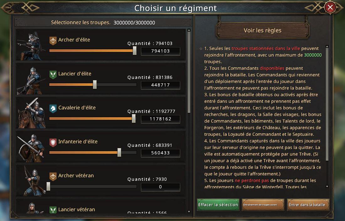 Choix des troupes