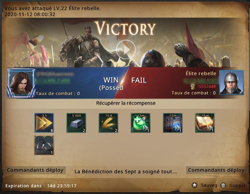 Victoire contre groupe rebelle niveau 22
