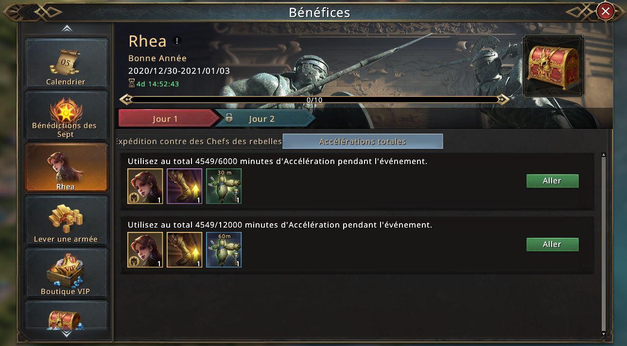 Evénement Rhea jour 1