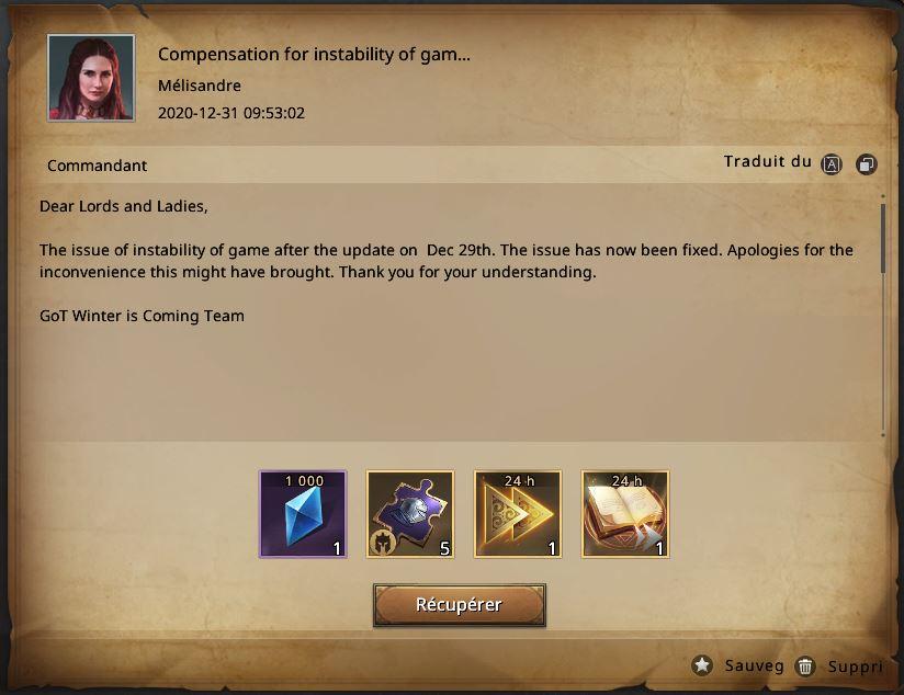Compensation instabilité du jeu