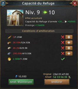 Recherche capacité du refuge vers 10