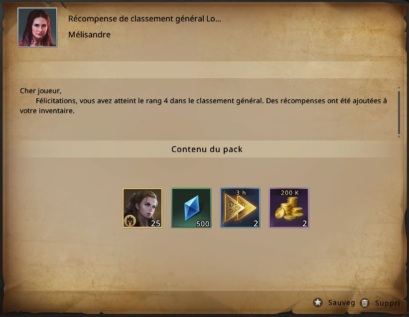 Classement Lord des Lords