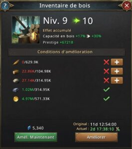 Recheche inventaire de bois vers 10