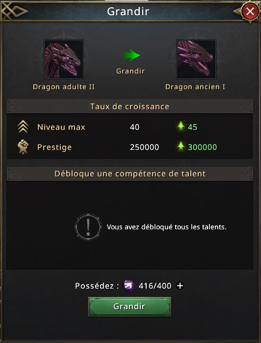 416 essences d'ombres, dragon prêt à évoluer