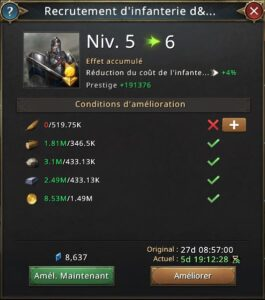 Recherche recrutement d'infanterie d'élite vers 6