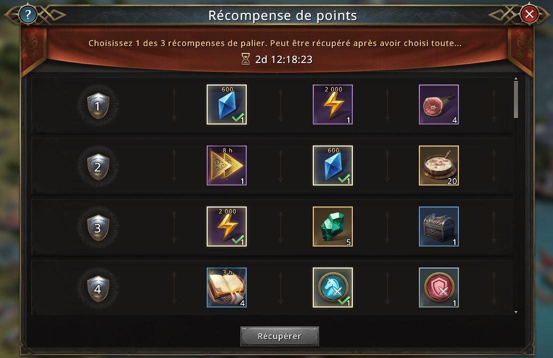 Nouvelles récompenses de Mobilisation d'Alliance