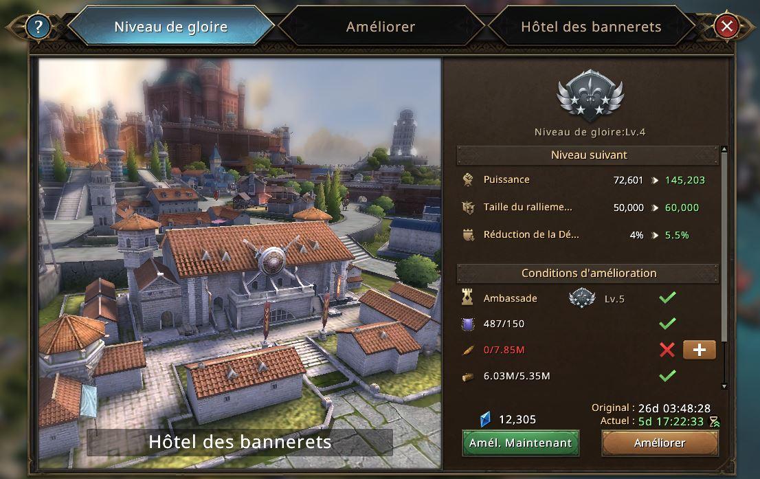 Evolution de l'hôtel des bannerets vers le niveau de gloire 5