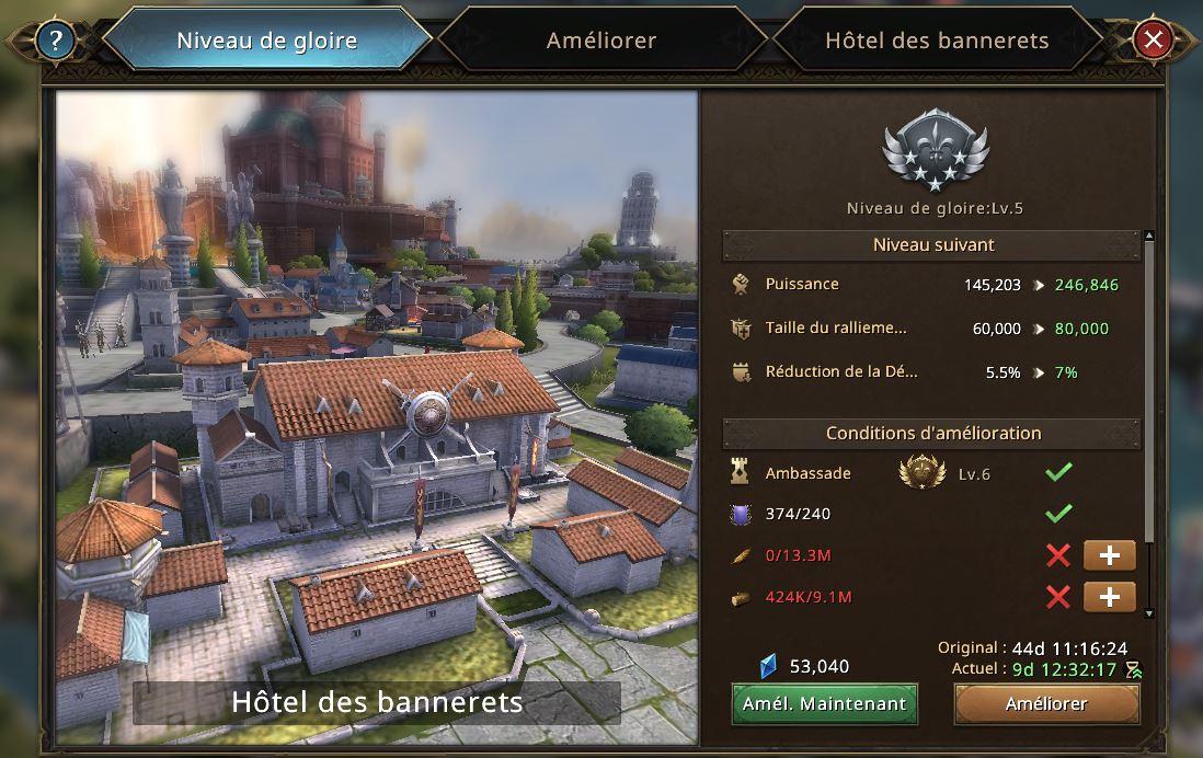 Evolution de l'hôtel des bannerets vers le niveau de gloire 6