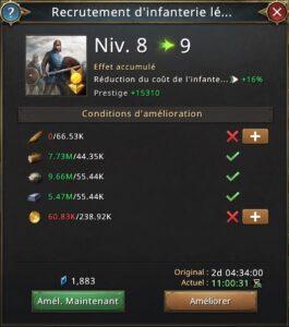 Recherche recrutement d'infanterie légère vers 9