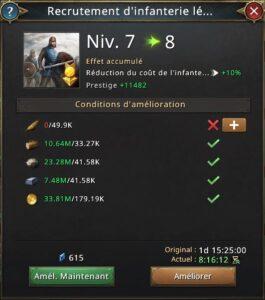 Recherche recrutement d'infanterie légère vers 8