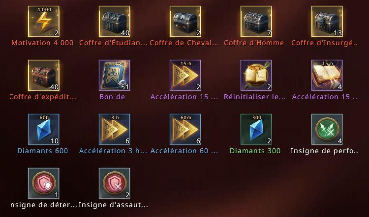 Récompenses de la Mobilisation d'Alliance