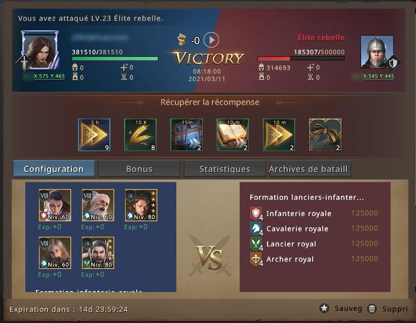 Victoire contre groupe rebelle niveau 23