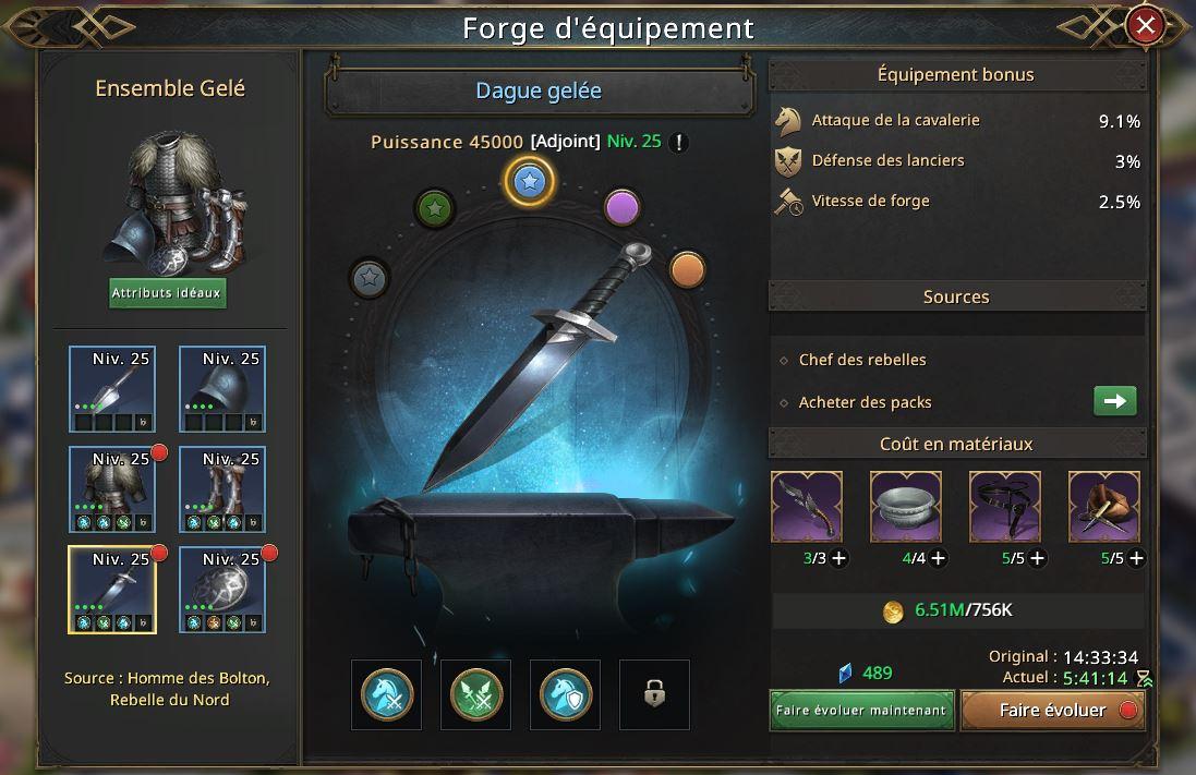 Evolution de la dague gelée