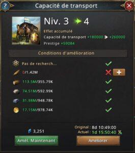 Recherche capacité de transport vers 4