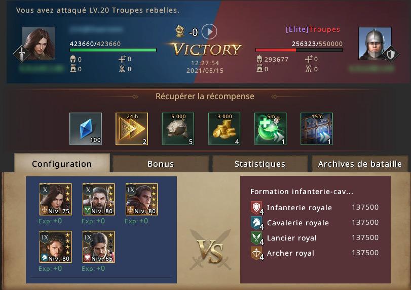 Victoire contre groupe rebelle élite 20
