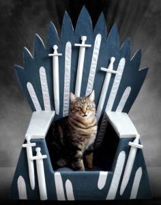 Panier pour chat en forme de trône de fer