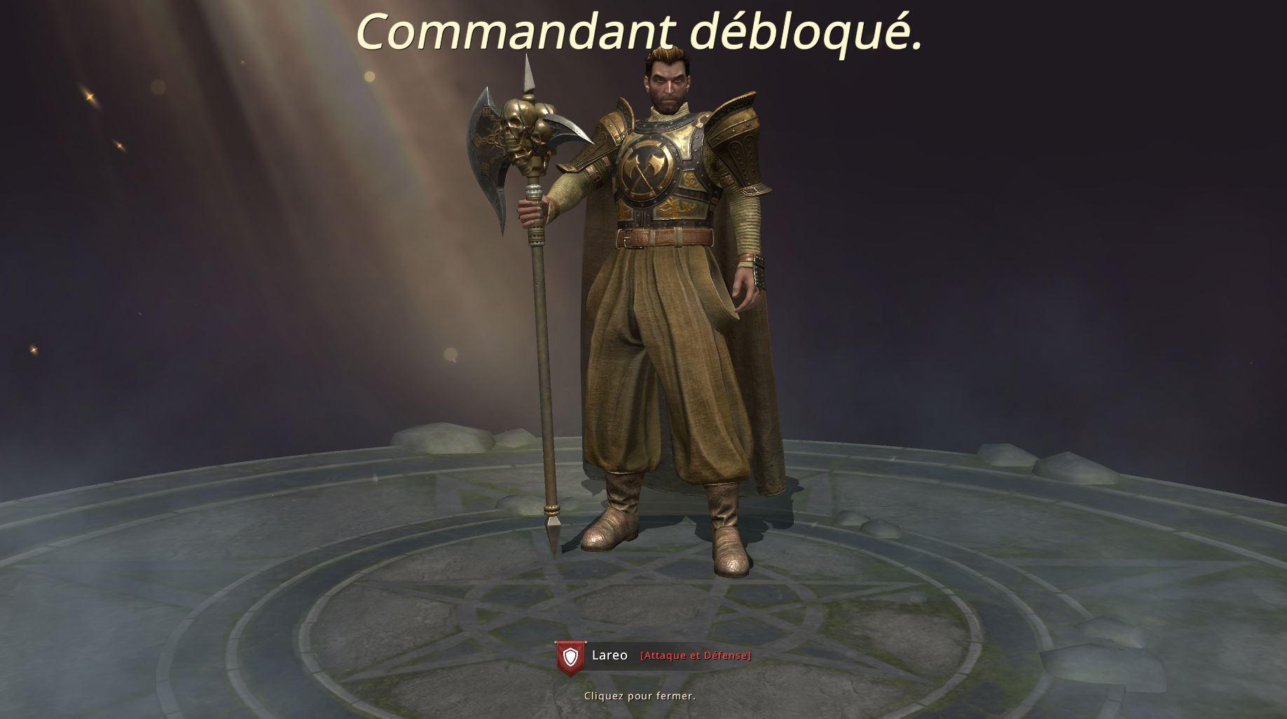 Commandant Lareo débloqué