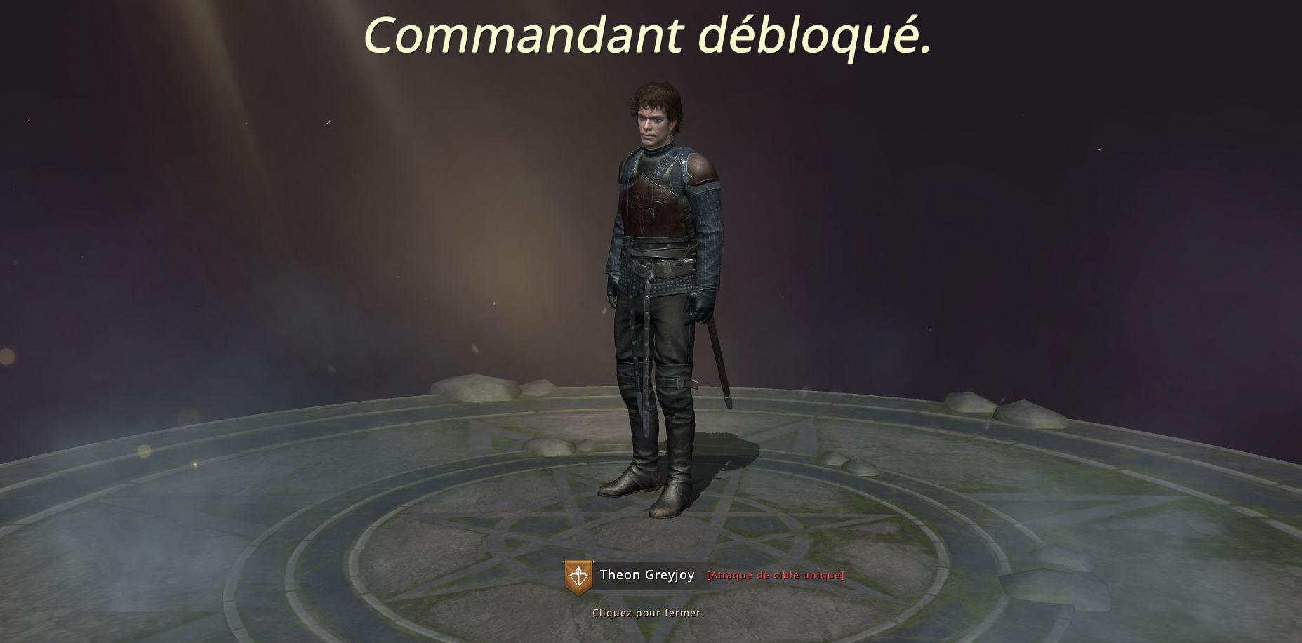 Commandant Theon débloqué